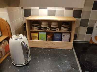 Fatto A Mano In Legno Francese Vino Scatola Tea & Coffee Station Cucina Organizzatore & In Ordine >-
