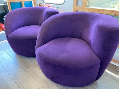Pair of MCM Vladimir Kagan Original Nautilus Lounge Chairs Purple Microsuede