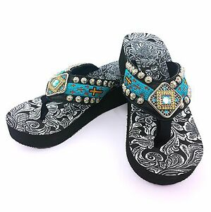 Details About New Western Turquoise Aztec Cross Rhinestone Concho Flip Flop
