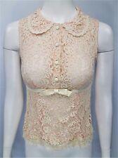NANETTE LEPORE Sz 2 Pink Lace Silk S/l Peter Pan Collar Blouse w/Patent Bow Belt