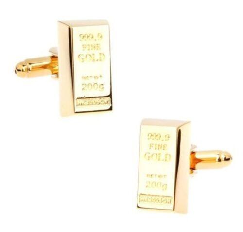 Gold Bullion Bar Cuff Links Brass Material Golden Brick 999.9 Fine Gold Design