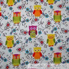 BonEful Fabric Cotton Quilt White Rainbow OWL B&W Swirl Scroll Flower Girl SCRAP