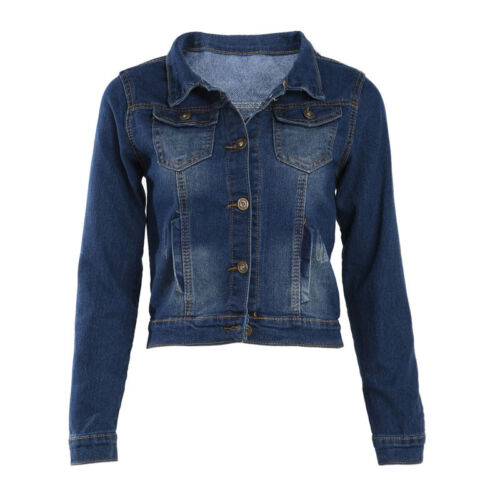 Vintage Casual Long Sleeve Jean Coat Women/'s Slim Denim Short Jacket Outerwear