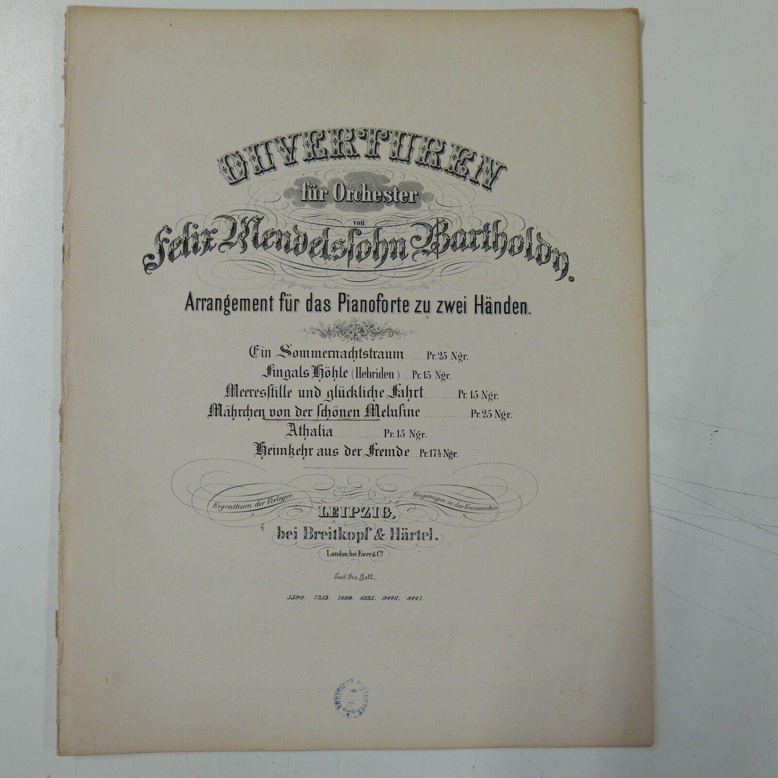 Piano solo MENDELSSOHN op.32 Märchen von der schönen Melusine , antique