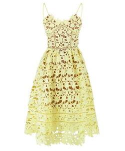 efd2a2c55c71 Details about Pastel Yellow Cut-out Slim Strap Azaelea Midi Dress Textured  Lace Floral Low V