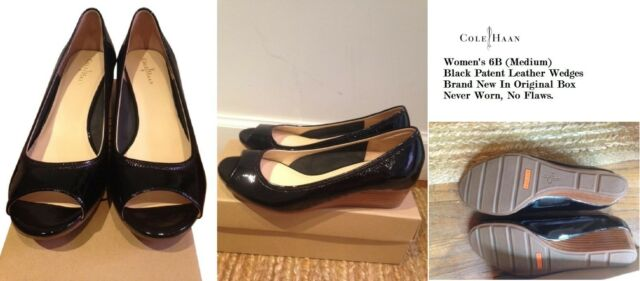 f101f114424 Cole Haan Women's size 6B (Medium) Air Tallot Black Patent Leather Wedges,  ...