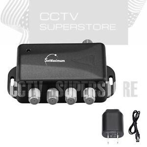 TV-ANTENNA-Signal-Booster-Amplifier-Splitter-HDTV-CABLE-4-PORT-Audio-Video