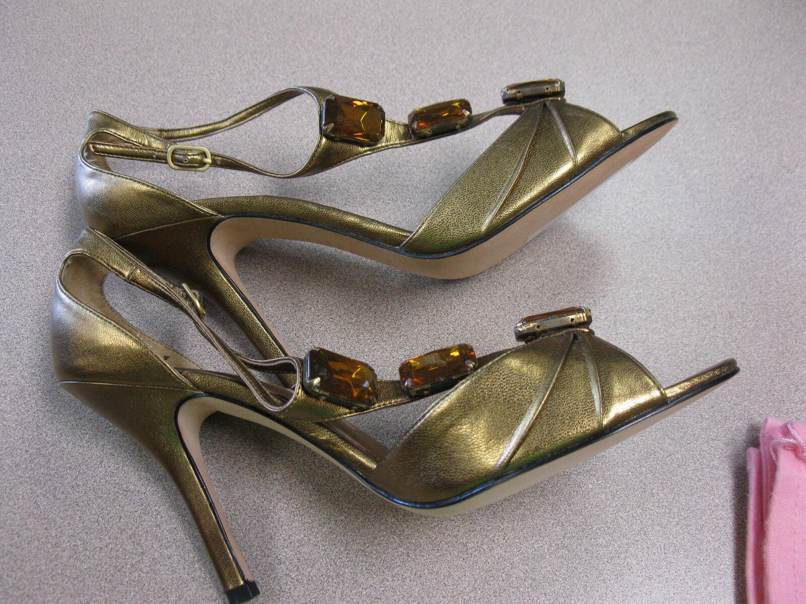 Bronze Metallic Sandals NINA With Rhinestones Leather Straps Size 10M