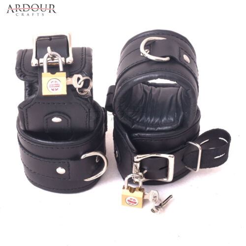 Natural Cow Hide Leather Padded 7 Pieces Wrist Ankle Thigh Cuffs Set /& Collar