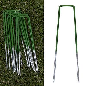 U Pins Half Green Artificial Grass Turf Galvanised Metal Pegs Staples Weed Hooks