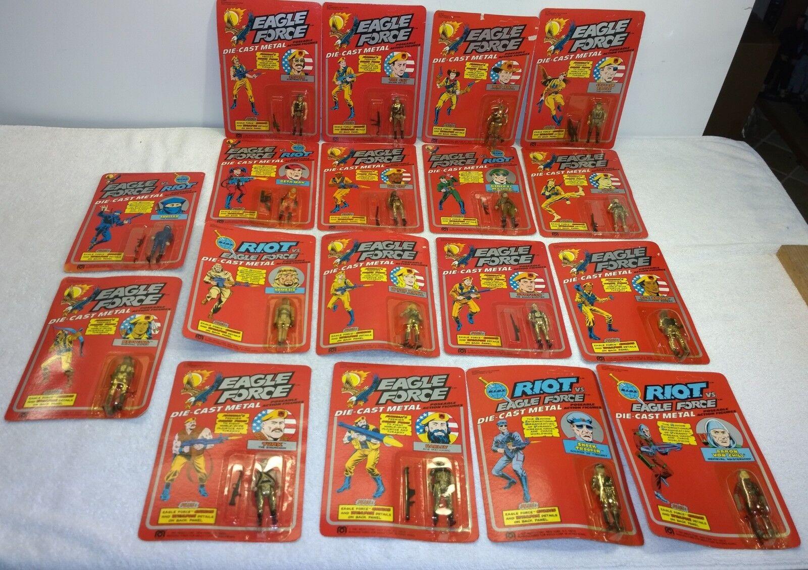 Vintage 1981 Mego Eagle Force Full 18 figure Set  MOC Diecast Metal Rare rougewing  vente en ligne