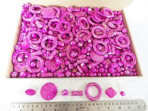 JOB-LOT-One-kilo-1-kg-of-Cerise-Gold-Acrylic-Beads-many-shapes-sizes