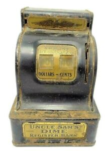 Uncle-Sam-039-s-Dime-Cash-Register-FH29-USA-Automatic-Deposited-Toy-Novelty-Vintage