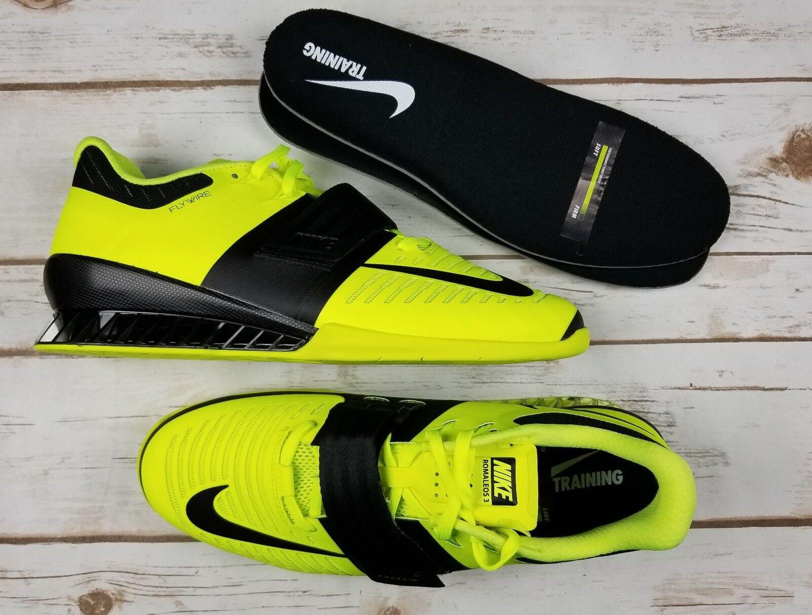 NIKE Romaleos Volt Black Weightlifting Shoe 852933 700 - Men 11.5 New/NoLid