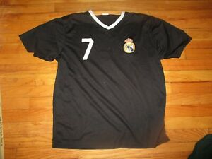 size 40 f45c5 6065d Details about Black REAL MADRID #7 Cristiano Ronaldo Practice Jersey XL  Football Sewn Crest