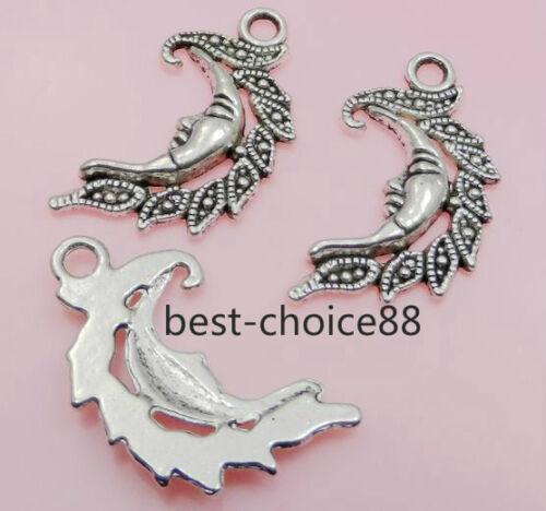 Free Ship 8//50Pcs Tibetan Silver Gold Moon Charms Pendant For Bracelet 27x15mm