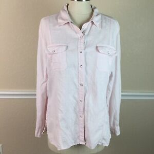 Chicos-2-Womens-Top-Linen-Snap-Down-Long-Sleeve-Light-Pink-Size-L