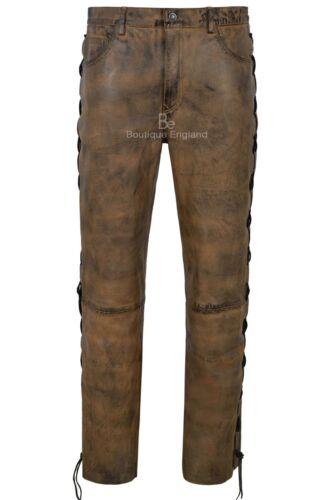 moto en sale Pantalon style ᄄᄂ lacets 100Napa marron homme moto 00126 cuir 9W2HEIYeD