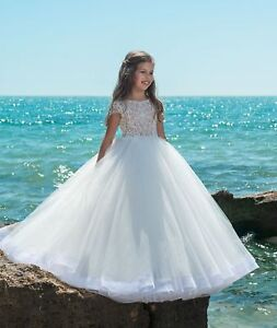 White Tulle Flower Girl Dress Short Sleeve Princess Party Pageant