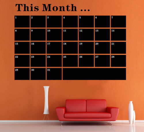 Monthly Planner Calendar Blackboard Wall Sticker Home Decor Decal UK RUI163