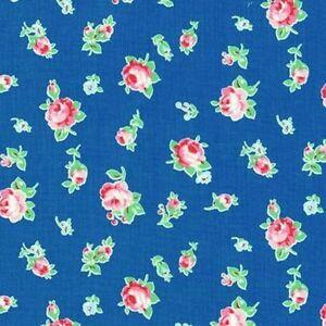 Cottage-Shabby-Chic-Lecien-Flower-Sugar-Floral-30843L-77-Blue-Cotton-Fabric-BTY