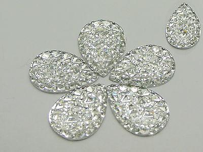 50 Clear Glitter Flatback Resin Oval Cabochon Pyramid Dotted Rhinestone 18X25mm
