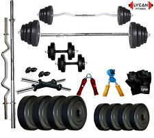 Lycan 32 Kg Home Gym Set+3 Ft Curl Rod+5 Ft Plain Rod+Accessories