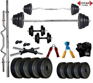 Lycan 32 Kg Home Gym Set+3 Ft Curl Rod+5 Ft Plain Rod+Accessories