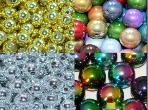 argent /& gold de 1ère classe style métallique de 6mm 8mm ronde arc-en-ciel de perles acryliques