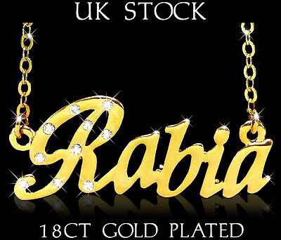 RABIA NAME NECKLACE Fashion Jewellery Personalised Designer Gifts Arabic//Muslim