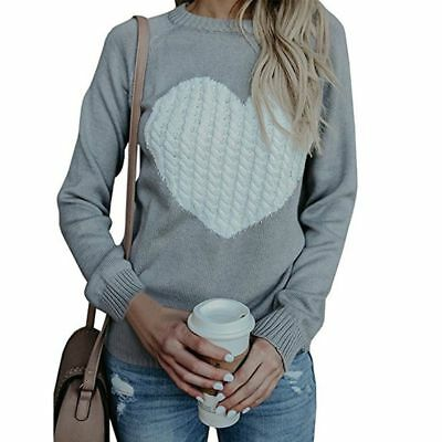 Womens Long Sleeve Sweater Winter Ladies Knitted Heart Jumper Pullover Tops