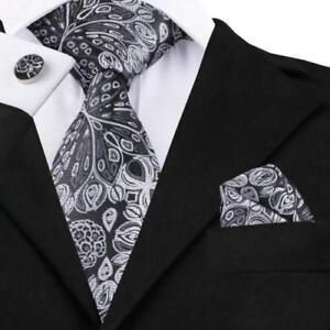 LUXURY-GIFT-SET-Mens-Classic-Grey-Paisley-Silk-Tie-Handkerchief-Hanky-Cufflinks