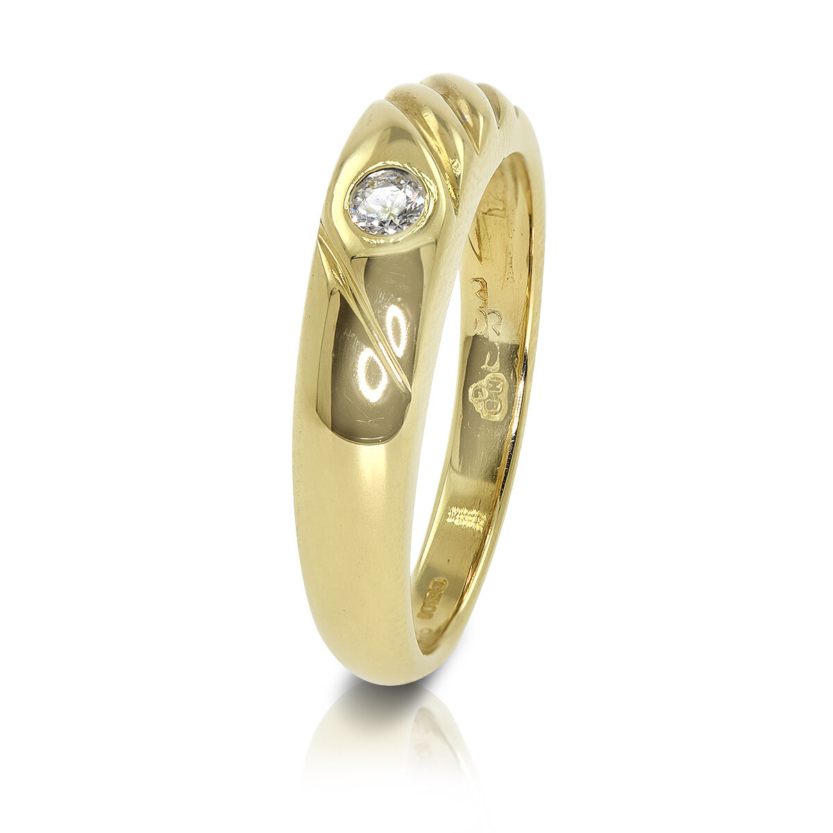 18 CT Yellow gold Diamond Solitaire Engagement Wedding Ring - Size L  (00396)