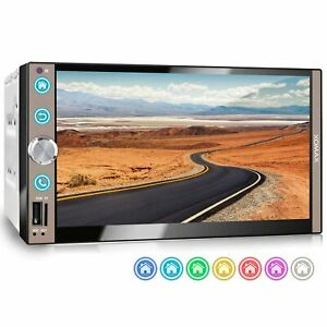 Autoradio 7 Zoll Kapazitiver Touch Monitor Bluetooth Mirror Usb Sd Mp3 Aux 2din