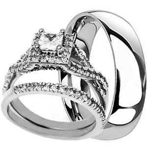 His-Hers-3-Piece-STERLING-SILVER-amp-TITANIUM-Matching-Wedding-Engagement-Ring-Set