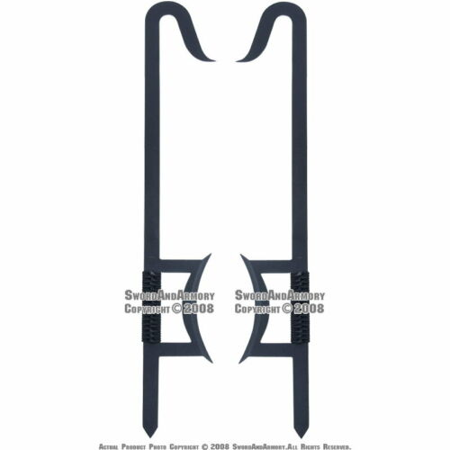"33.5/"" Martial Art Kung Fu Wu Shu 2 Pcs Functional Chinese Hook Swords Set Black"