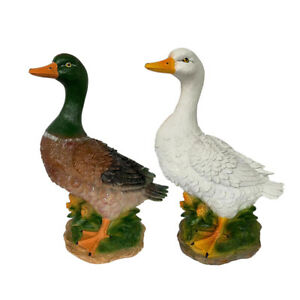 2Pcs Resin Duck Statue Garden Sculpture Outdoor Duck Craft ...