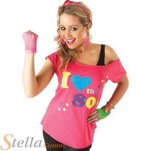 eb84c0814f75 Ladies I Love The 80s T-Shirt Fancy Dress Costume Neon Festival ...