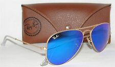 AUTHENTIC RAY-BAN AVIATOR SUNGLASSES RB3025 112/17 GOLD BLUE MIRROR 55mm ITALY