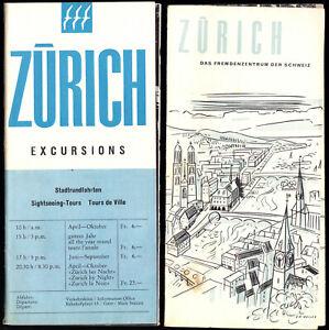 tour-Broschuere-Exkursionen-von-Zuerich-aus-um-1958-Beilage-Stadtprospekt