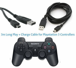 3M-Long-Play-amp-Charge-Cable-for-PS3-Controller-GamePad-Pad-Charging-Charger-Lead