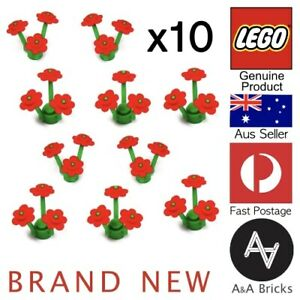 Genuine-LEGO-Flowers-Red-with-Green-Stem-Brand-new-x10-40-parts