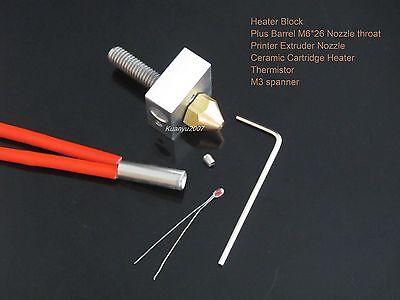 Heater Block+Nozzle throat+Extruder Nozzle+Heater+Thermistor 3D Printer DIY Kit