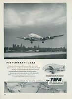 1953 Trans World Airlines Ad TWA Skyliner Taking Off Runway Vintage Aviation