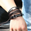 Fashion-Men-Women-Handmade-Genuine-Leather-Bracelet-Braided-Bangle-Wristband-Set miniatura 12