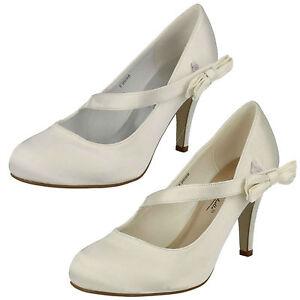 las-senoras-Anne-Michelle-Tacon-Alto-Saten-Zapatos-de-salon-Boda-Lazo-de-adorno