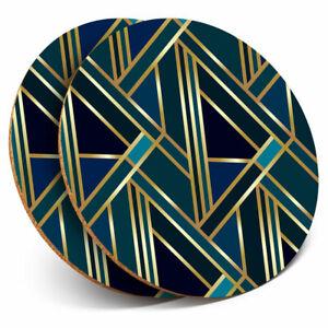 2-x-Coasters-Green-Gold-Art-Deco-Geometric-Home-Gift-12546
