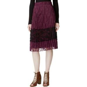 Maison-Jules-Womens-Lace-Colorblock-Knee-Length-Pleated-Skirt-DL9