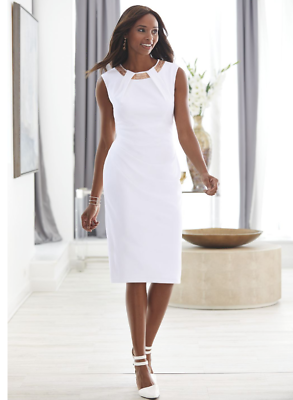 Ashro White Rose Gold Necklace Formal Kendyll Church Dress 8 12 16 16W 18W 26W | eBay