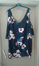 Ladies Size 20 floral  Cold Shoulder Short Sleeve Top